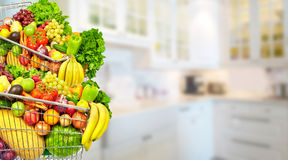 Warzywa i owoc nad kuchennym tłem Obrazy Royalty Free