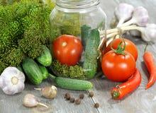 Warzywa i pikantność na stole dla konserwowanie obrazy stock