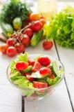 Warzywa i sałatka od czereśniowych pomidorów i ogórków Zdjęcia Stock