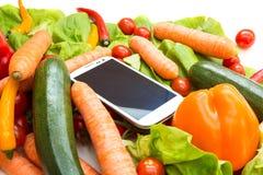 Warzywa i Smartphone Fotografia Royalty Free