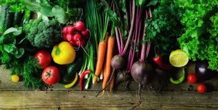 Warzywa na drewnianym tle Życiorys zdrowa żywność organiczna, ziele i pikantność, Surowy i jarski pojęcie składniki fotografia stock