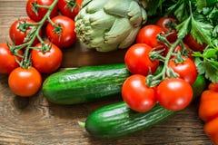 Warzywa na drewnianym tle Zdjęcie Stock