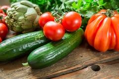 Warzywa na drewnianym tle Fotografia Royalty Free