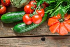 Warzywa na drewnianym tle Zdjęcie Royalty Free