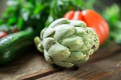 Warzywa na drewnianym tle Zdjęcia Royalty Free