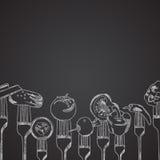 Warzywa na rozwidleniach rysujących na chalkboard Zdjęcie Royalty Free