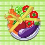 Warzywa na talerzu z pomiarową taśmą Fotografia Royalty Free