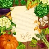 Warzywa przepisu lub wiadomości wektorowy nutowy puste miejsce Obrazy Royalty Free