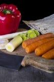 Warzywa przygotowywający dla polewki Obraz Royalty Free