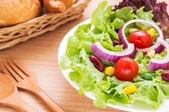 Warzywa sałatkowi na talerzu i chlebie obraz royalty free