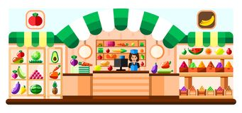 Warzywa sklepowy salowy z sprzedawcą, gablotą wystawową i chłodziarką, Supermarketa wnętrze z przysmakami owoce, warzywa ilustracja wektor