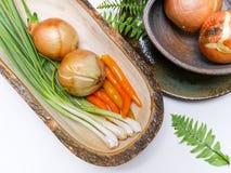 Warzywa ustawiający na bielu stole Fotografia Stock