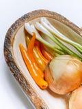 Warzywa ustawiający na bielu stole Obrazy Royalty Free