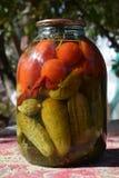 Warzywa w szklanym słoju Obraz Royalty Free