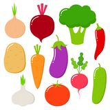 Warzywa wektorowy zdrowy odżywianie pomidor marchewka dla jaroszy je żywność organiczną od sklepu spożywczego i pieprz vegetably ilustracji