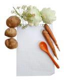 Warzywa wokoło liścia notatnik Fotografia Royalty Free