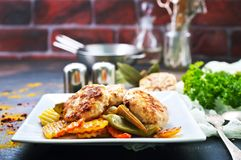 Warzywa z cutlets zdjęcie stock
