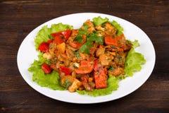 Warzywa z kurczakiem w curry'ego kumberlandzie, zamykają up Obraz Stock