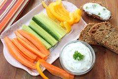 Warzywa z kwaśną śmietanką Fotografia Stock
