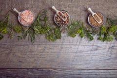 Warzywa, ziele i pikantność na starym drewnianym stole, odgórny widok, kopii przestrzeń, wieśniaka styl Jarski jedzenie, zdrowie  Zdjęcie Royalty Free
