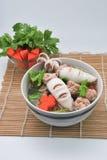 Warzywo polewka z kałamarnicą i wieprzowiną Zdjęcia Stock