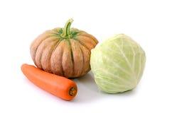 Warzywo przeciw nowotworowi Marchewka, bania, kapusta odizolowywa na bielu Obraz Stock