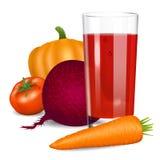 Warzywo sok Pomidor, marchewka, bania i buraki, Zdjęcie Stock