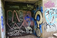 The remains of West Fort Miley beautified under graffiti, 12. By 1885 it was apparent the new West Coast of the United States needed fortification. It took the Royalty Free Stock Photos