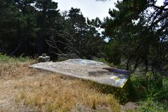 The remains of West Fort Miley beautified under graffiti, 21. By 1885 it was apparent the new West Coast of the United States needed fortification. It took the Stock Image