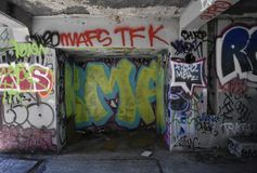 The remains of West Fort Miley beautified under graffiti, 6. By 1885 it was apparent the new West Coast of the United States needed fortification. It took the Stock Photo