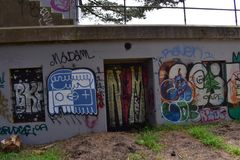 The remains of West Fort Miley beautified under graffiti, 15. By 1885 it was apparent the new West Coast of the United States needed fortification. It took the Stock Images