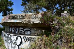 The remains of West Fort Miley beautified under graffiti, 24. By 1885 it was apparent the new West Coast of the United States needed fortification. It took the Stock Photography