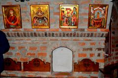 Orthodox icons in Saint Anna-Rohia monastery, situated in a natural and  place, in Maramures, Transylvania Royalty Free Stock Photos