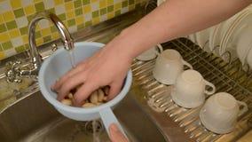 Was de noten in het vergiet in de keuken stock footage