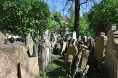 Old Jewish cemetery, Prague. It was founded at the beginning of the 15th. When it stopped using it in 1787, there was no more room. It has 12,000 graves in an royalty free stock images