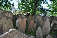 Old Jewish cemetary, Prague, Czech Republic. It was founded at the beginning of the 15th. When it stopped using it in 1787, there was no more room. It has 12,000 royalty free stock image