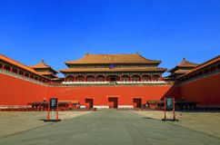 Meridian Gate—the main entrance of the forbidden city. It was founded in 1420, rebuilt in 1647 and  1801 Royalty Free Stock Images