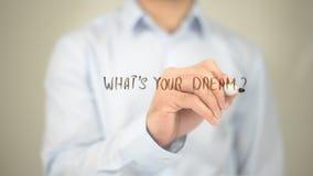 Was Ihr Traum ist, Mann-Schreiben auf transparentem Schirm Lizenzfreies Stockfoto