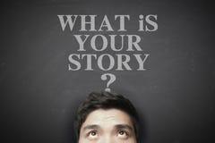 Was Ihre Geschichte ist Stockbild