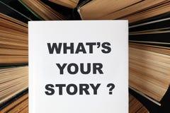 Was ist Ihre Geschichte? 's-Buch Stockfotos