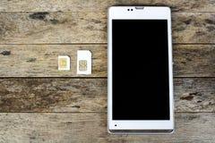 Was ist, kann Art der SIM-Karte an Ihrem Mobil-, intelligenten Telefon verwenden Stockfotografie
