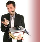 Was jetzt?! Überarbeiteter junger Geschäftsmann empfängt Nachrichten Stockbilder