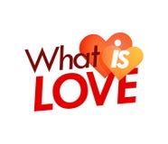 Was Liebe - Art-Emblem mit Paaren Herzen auf weißem Hintergrund ist lizenzfreie abbildung