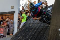 Mexican mountain bike rider Ricardo Peredo goes through a wall ride on Down Puerto Vallarta race, on april 30th 2017 royalty free stock photography