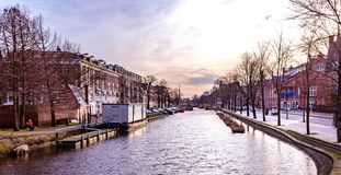 Amsterdam in sunset stock photography
