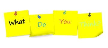 Was Sie denken, Mitteilung auf Briefpapier mit Stift stock abbildung