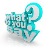 Was Sie tun, 3D erläutertes Wort-Fragezeichen zu sagen Lizenzfreie Stockbilder