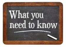 Was Sie wissen müssen lizenzfreie stockfotografie