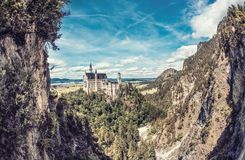 Magical Neuschwanstein Castle in Bavaria, Germany. It was supposed to be king`s Ludwig II home but became one of the world most popular touristic places. His Stock Photo
