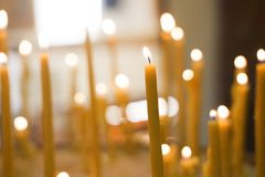 Candles with a blurred backgroud royalty free stock photography